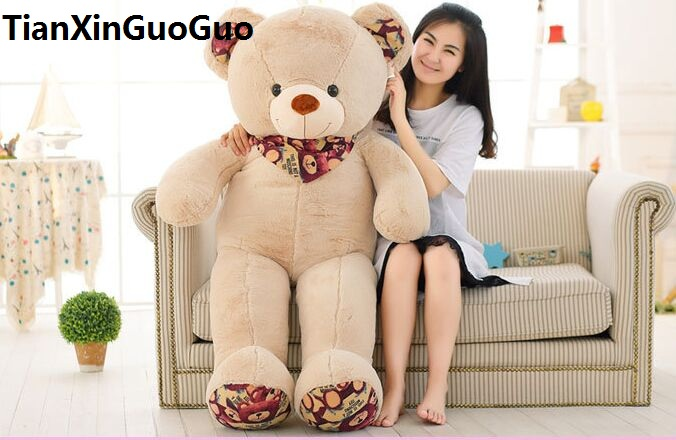 stuffed plush toy huge 140cm scarf teddy bear plush toy khaki bear soft doll hugging pillow birthday gift w2977 cheap 340cm huge giant stuffed teddy bear big large huge brown plush soft toy kid children doll girl birthday christmas gift