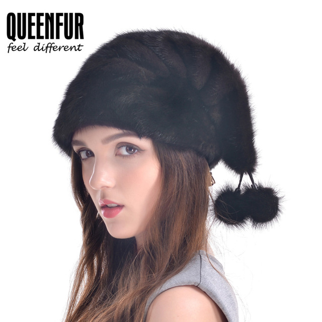 Women Christmas Hat 2016 New 100% Real Mink Fur Cap With Fur Ball Beanies Natural Mink Fur Warm Casquette Russia Winter Hats