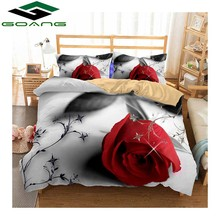 GOANG bedding sets bed sheet duvet cover pillow case 3pcs super king size 3d digital printing red rose Home textile