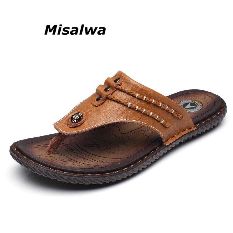 Misalwa 2018 D'été Hommes Pantoufles Classique Respirant Split En Cuir Casual Flip Flops Mode Hommes Plage Sandales Chaussures
