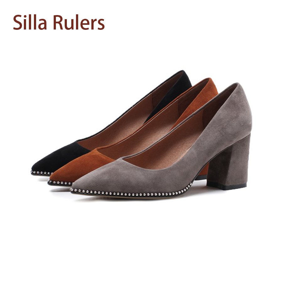Silla Rulers Suede Leather Pointed Toe Chunky High Heel Women Pumps Dress Shoes Shallow Metal Beading Fashion Women Single Shoes зажим для волос dewal бабочка цвет черный 10 см 4 шт cl2207