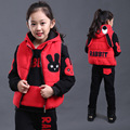 Children Clothing Plus Velvet Winter Thicken Girls Clothing Sets Fashion Casual Vest Waistcoat + Sweatshirts + Pants Sport Suit
