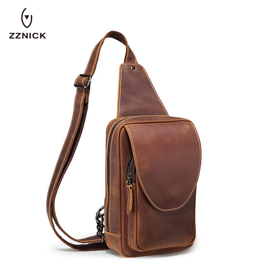 ZZNICK High Grade Crazy Horse Leather Chest Bag Vintage GenuineCow Leather Men Bag Perfect Quality Men Messenger Bags Chest Pack famous brand men chest bags theftproof open fashion leather travel crossbody bag man messenger bag crazy horse leather bag chest