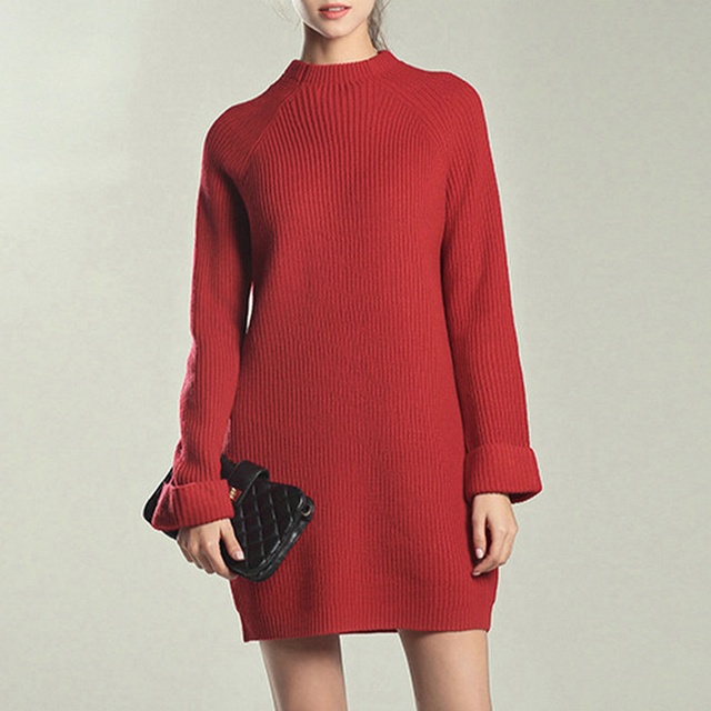f3bc777d902 YJSFG HOUSE Women Spring Sweater Dresses Knitted Loose High Neck Pullover Jumper  Dress Turtleneck Ladies Autumn Warm Party Dress