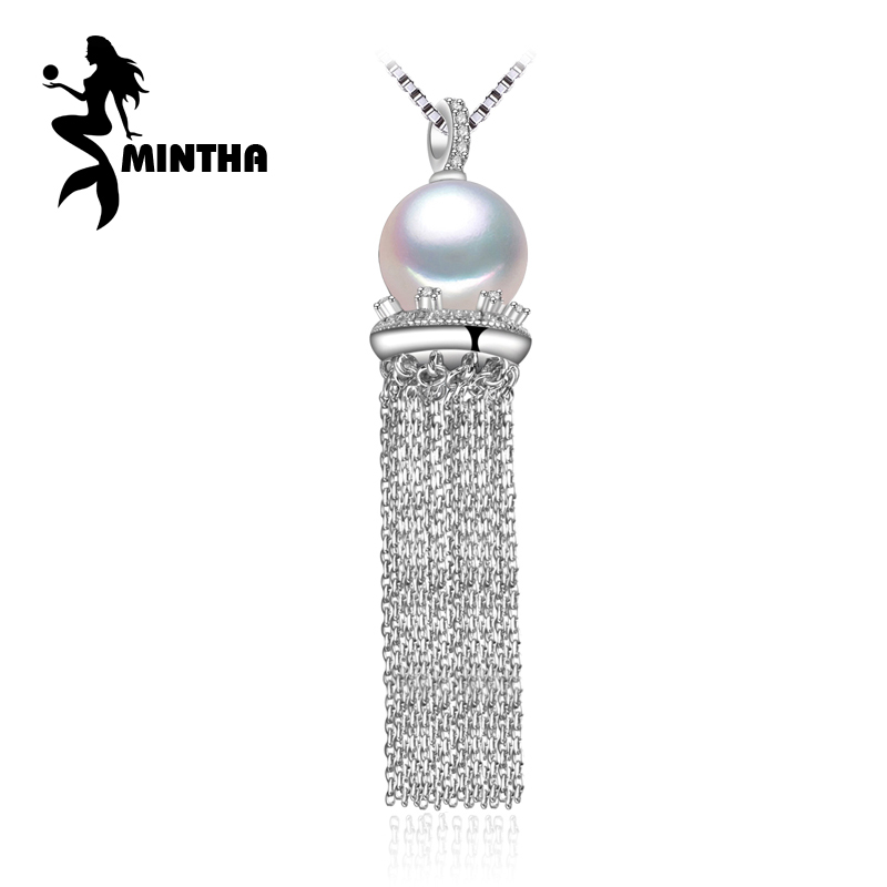 MINTHA 9-10mm round natural Pearl necklaces,Pearl with 925 Sterling Silver tassel necklaces,Birthday gift pearl Jewelry WomenMINTHA 9-10mm round natural Pearl necklaces,Pearl with 925 Sterling Silver tassel necklaces,Birthday gift pearl Jewelry Women