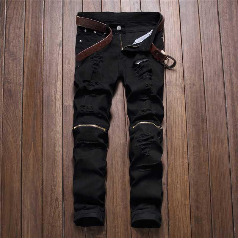 #2741 Hip hop jeans Fashion Punk White/Black ripped jeans men Denim Biker denim Designer jeans men High quality Ankle zipper