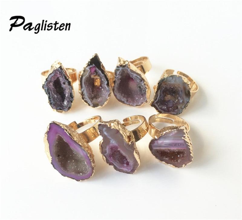 1PCS Hot Selling Fashion Unique Natural Stone Quartz  Crystal Druzy Irregular Wedding Ring for Women
