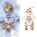 New Fashion Boys Clothing Sets Newborn Children Printed Cute Casual Suit 3pcs Hat+Full Sleeve Bodysuits+Pant Kids Costume 0-18M