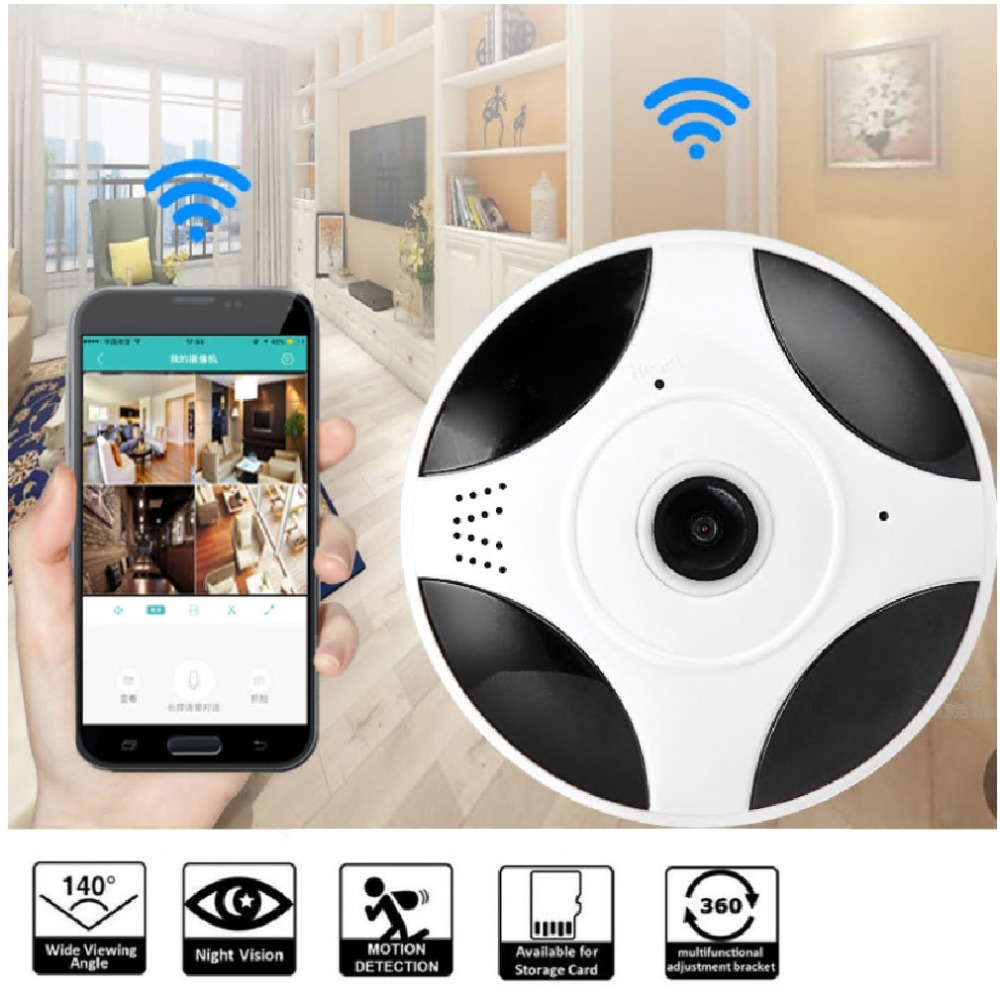 Vr1-x13 (960p) Panoramic VR Webcam Ceiling Flying Saucer Monitoring Wireless Mobile Phone Remote 360 Degree Camera New цена