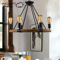 Designer de loft estilo norte europeu retro café rural hall bar corda ferro lustre lâmpada