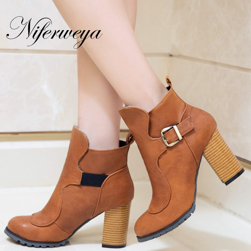 Big size 31-50 Fashion spring/autumn women Ankle boots sexy Round Toe Buckle decoration thick heel high heels zapatos mujer new spring autumn ankle strap women shoes big size 32 46 fashion pointed toe buckle strap thick heel high heels zapatos mujer