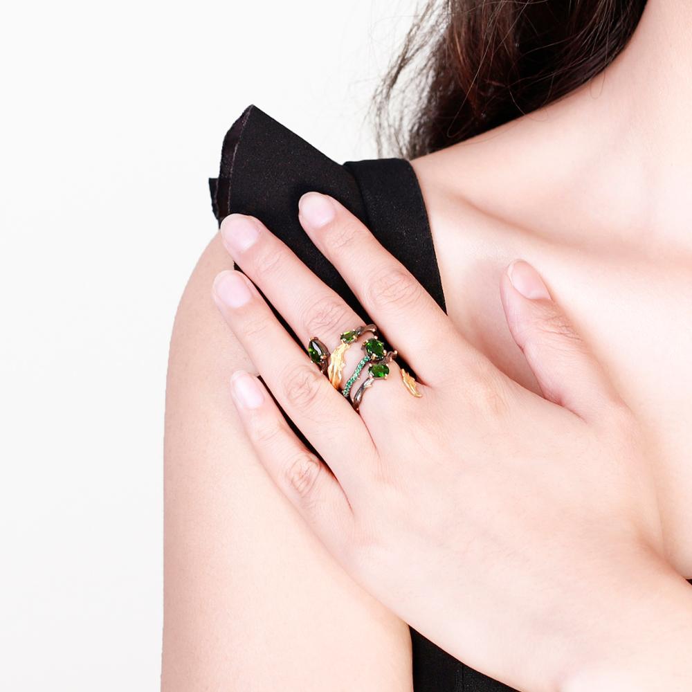 Image 5 - GEMS BALLET 2.57Ct Natural Chrome Diopside Gemstone Finger Ring  925 Sterling Sliver Leaf Band Rings For Women Fine JewelryRings   -