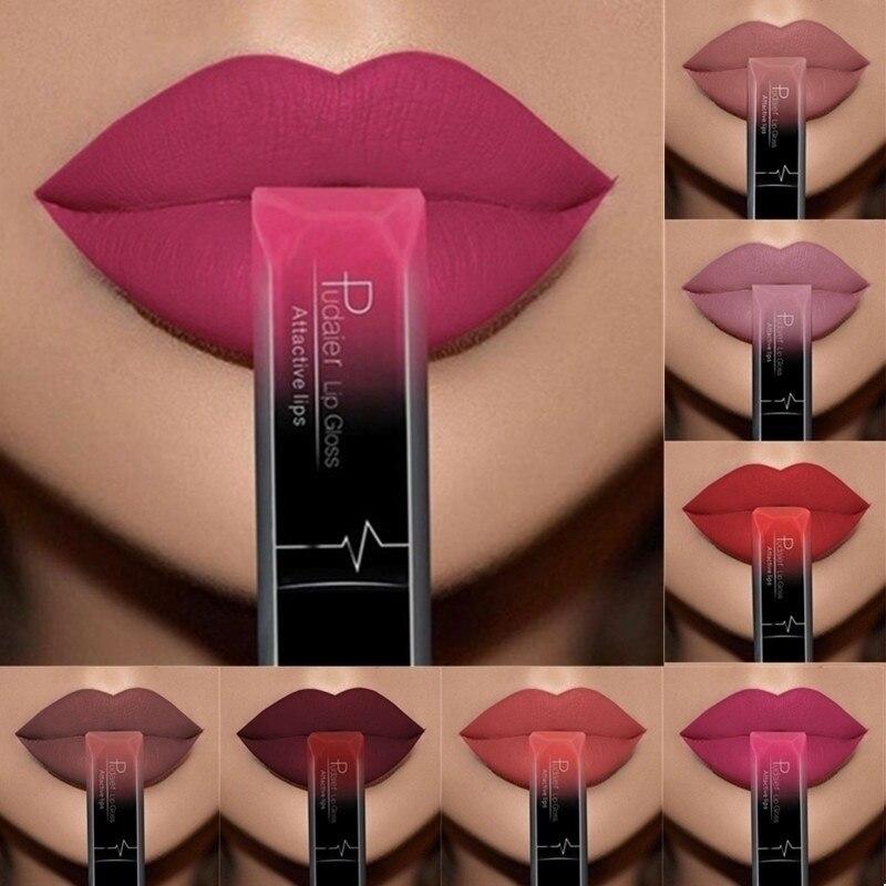 PUDAIER Matte Lipstick Waterproof Nude Velvet Glossy Lip Gloss Lipstick Lip Balm Sexy Red Lip Tint 21 Colors Women Makeup Gift