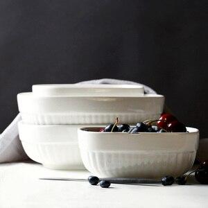 6 Cal/8 Cal 2 sztuk biały w paski do pieczenia naczynia do pieczenia patelnie au gratin naczynia ceramiczne wzmocnienie porcelanowy ryż lasagne płyta