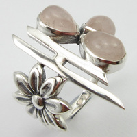 Pure Silver Pink Rose Quartzs 3 STONE Ring Size 9 Wedding Gift Unique Designed