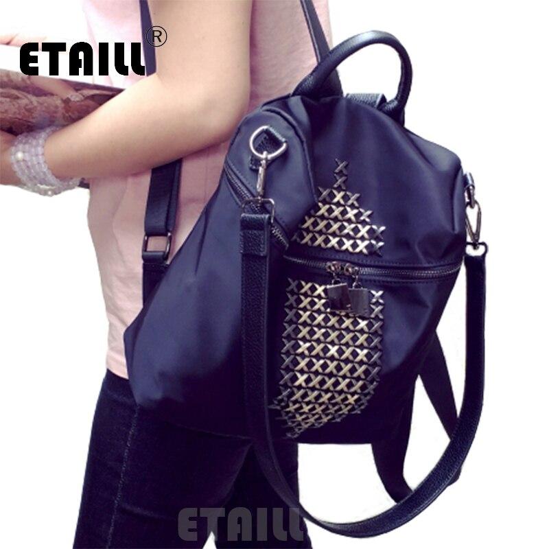 2016 Famous Brand Women Men Backpack Students Schoolbag Rivet Double Zipper Casual Mochila For Teenagers Girls