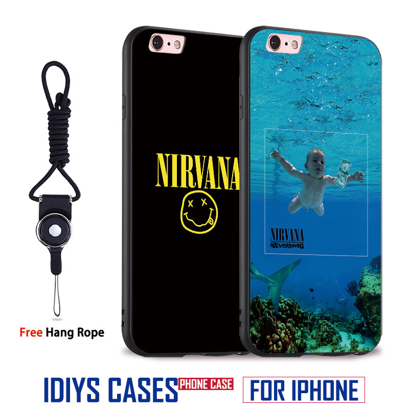 Nirvana Band Kurt Cobain TPU Soft Silicone Mobile Phone Case Cover For Apple iPhone X 8Plus 8 7Plus 7 6sPlus 6s 6Plus 6 5 5S SE