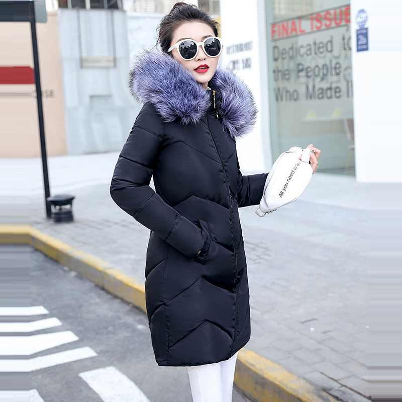 Grande Collo di Pelliccia Parka di Inverno Delle Donne Giubbotti Mid-Lungo di spessore Abbigliamento da Neve Cappotto di Inverno Femminile Giubbotti Caldo Wadded jaqueta corta vento