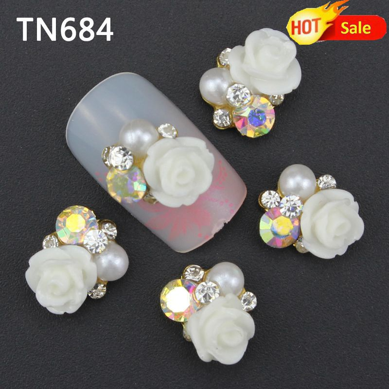 10pc White Alloy Glitter 3d Nail Art Rose Decorations with Rhinestones,Alloy Nail Charms,Jewelry on Nails Salon Supplies TN684 charms 3d nail art decorations stud glitter gold silver caviar micro beads diy jewelry design supplies nails accessories