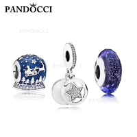 PANDOCCI 100% 925 Sterling Silver Winter Sleigh Charm Star Charm Night Sky Glass Bead Set Women's Vintage Wedding Jewelry