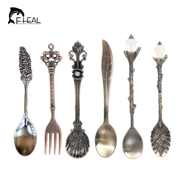 FHEAL 6pcs Vintage Royal Style Metal Coffee Tools Set European Carved Cutlery For Dessert Cake Afternoon  sc 1 st  AliExpress.com : vintage style tableware - pezcame.com
