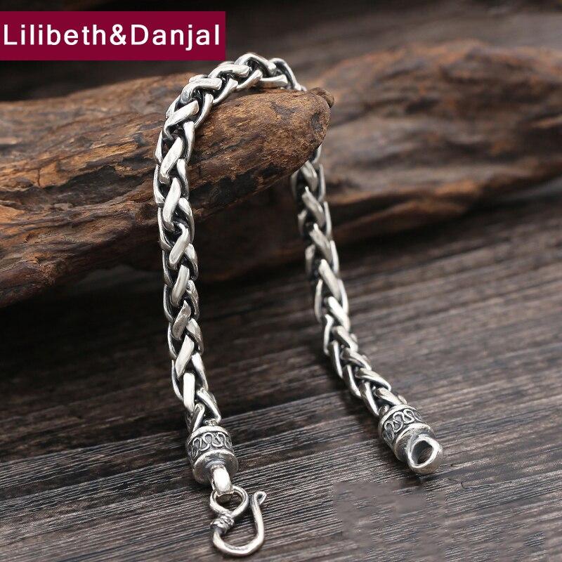 Nouveau 925 Bracelet d'amitié en argent Sterling hommes bijoux 6mm large corde Bracelet Bracelet femmes cadeau bijoux fins B15