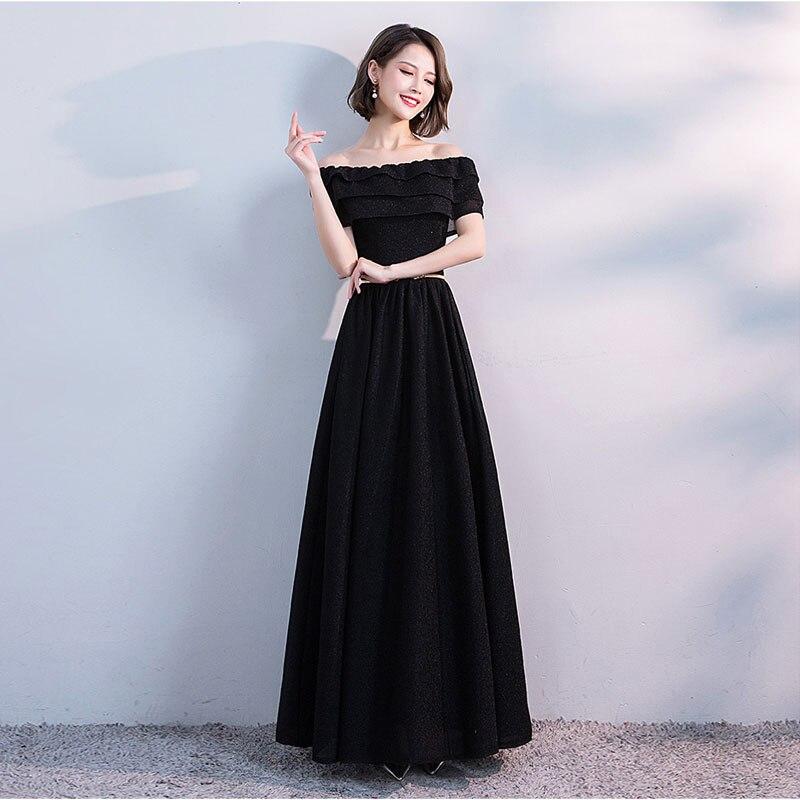 FADISTEE Elegant Evening Prom Party Dresses Bling Long Style Dresses Vestido De Noiva Sequins A-line Boat Neck Black Frock