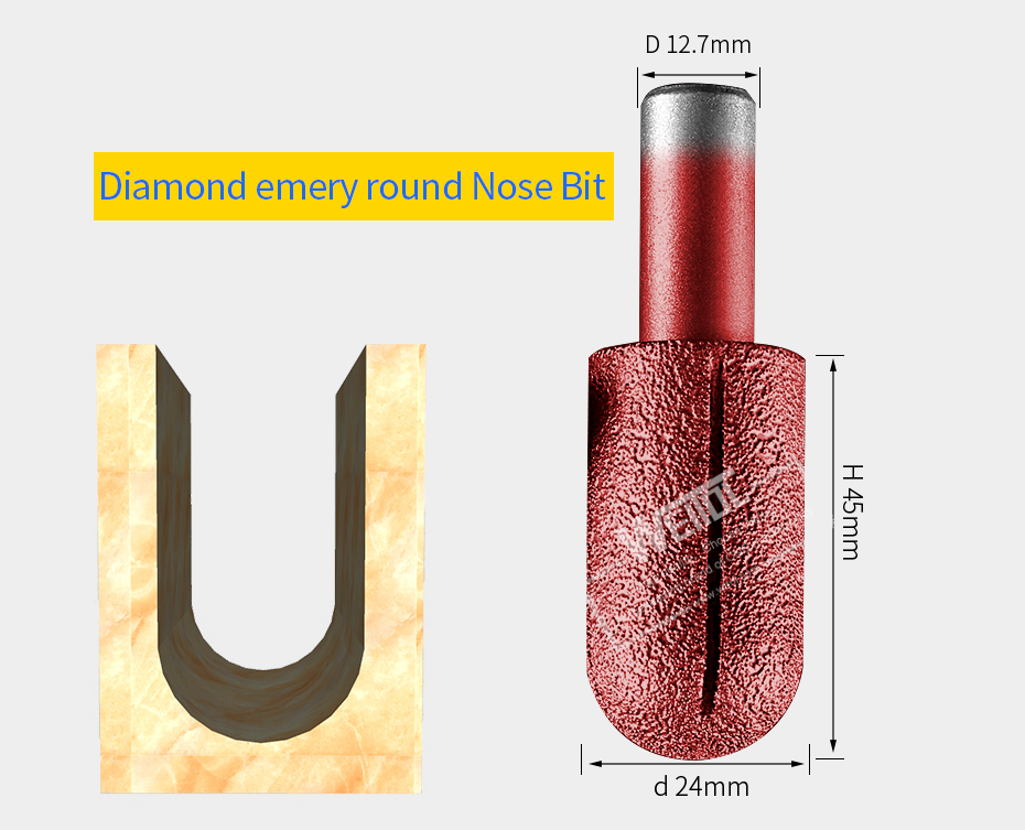 Diamond emery cove box bit round bottom router bits stone cutter bits granite CNC engraving tools 1PC