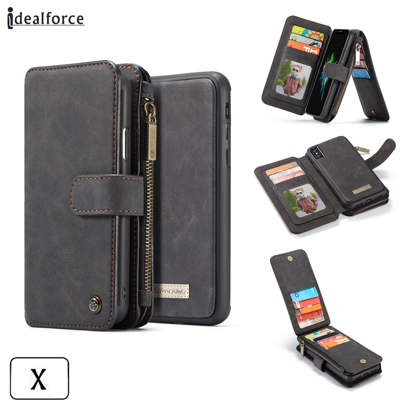 For iphone X Luxury Flip Leather Cover Wallet Bag for 5 6 S 7 8 Plus Case Flip Leather Phone Cover cases / Stent and Card pack