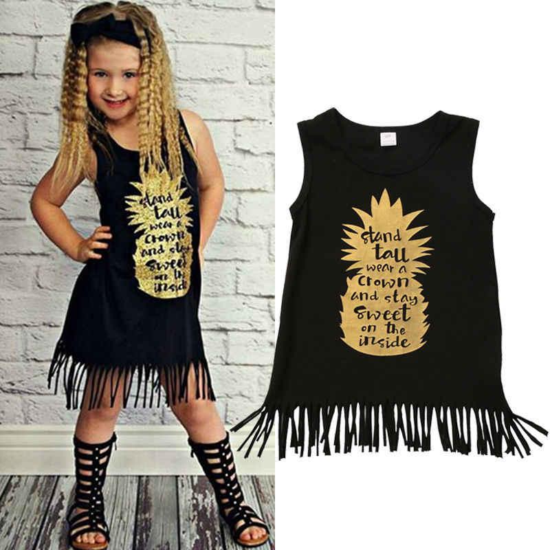 Emmababy verano niños pequeños vestido bonito para niña sin mangas trajes de borlas con estampado de piña niños vestidos de fiesta 1-5Y