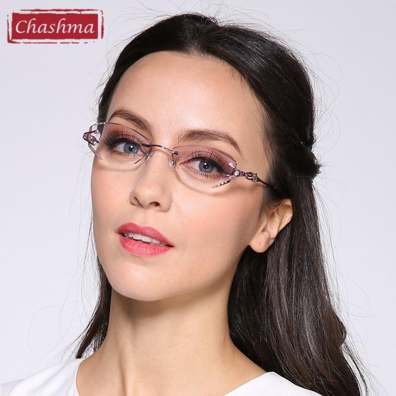 Chashma 럭셔리 색조 렌즈 근시 안경 독서 안경 다이아몬드 무테 처방 안경 여성 컬러 렌즈 안경