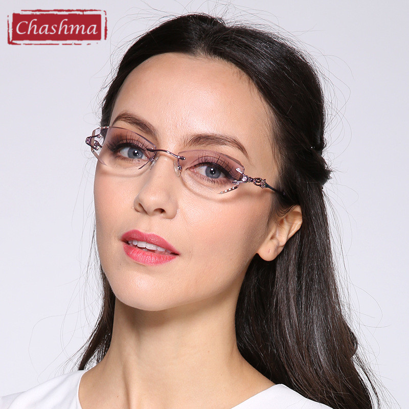 Chashma Luxury Tint Lenses Myopia Glasses Reading Glasses Diamond Rimless Prescription Glasses Women Colored Lenses Eyeglasses