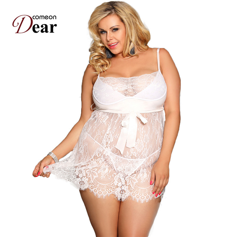 Comeondear <font><b>Camisola</b></font> <font><b>Sexy</b></font> <font><b>Plus</b></font> <font><b>Size</b></font> 5XL 7XL Sexi Nightwear For Women Porno <font><b>Lingerie</b></font> Eyelash Trim Lace Sleepwear Dress RJ80456 image