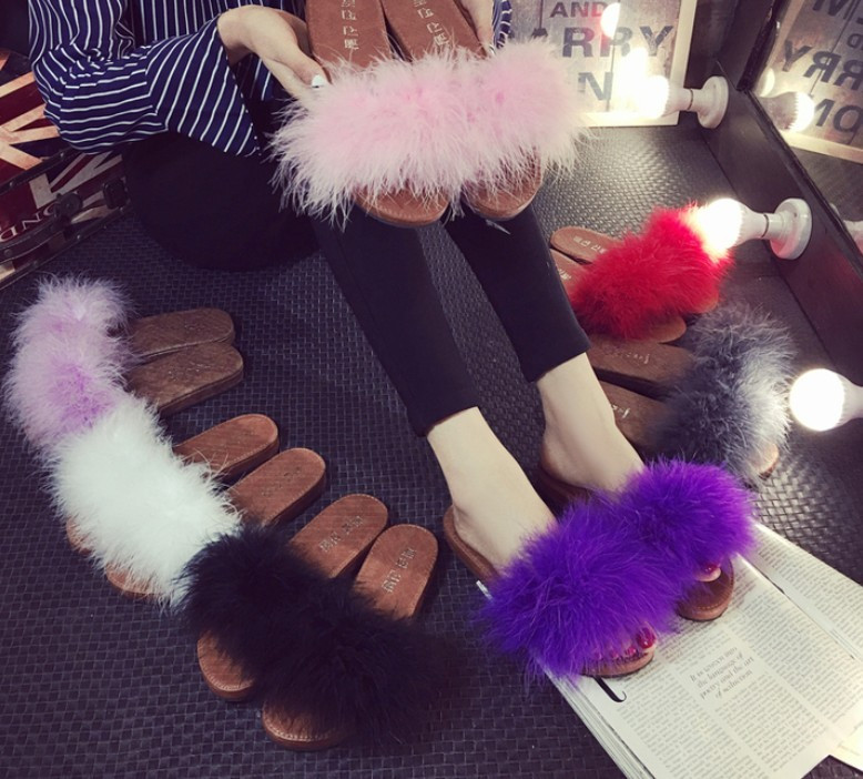 16 sweet candy color summer women real natural feather turkey fur fuzzy slippers slides mules women
