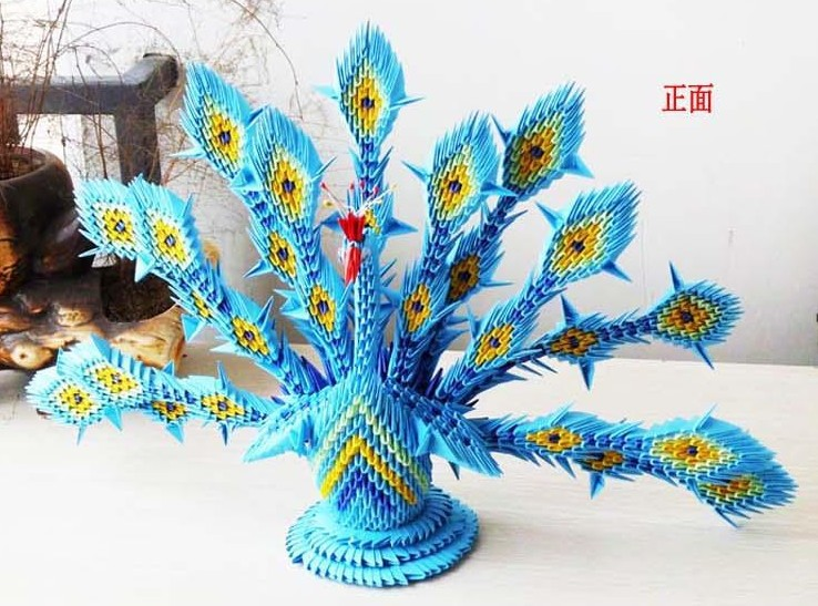 How to make a 3D origami Diamond Tail Peacock - YouTube | 547x738