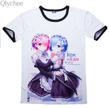 Qlychee XXL New Re Zero kara Hajimeru Isekai Seikatsu Emilia Students Cotton T shirt font b