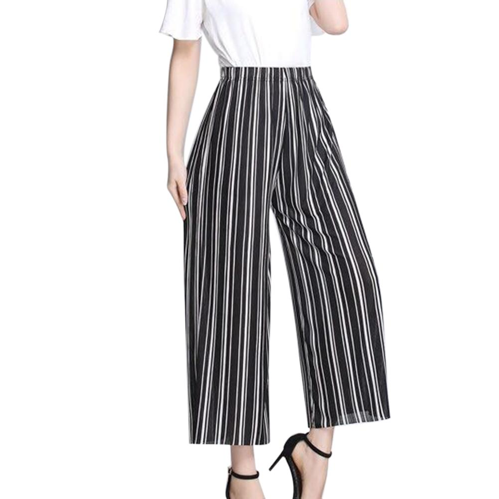 Leisure Color Striped Fabric Print Wide-Leg   Capri     Pants   Loose   Pants   For People In 90-160 Kg