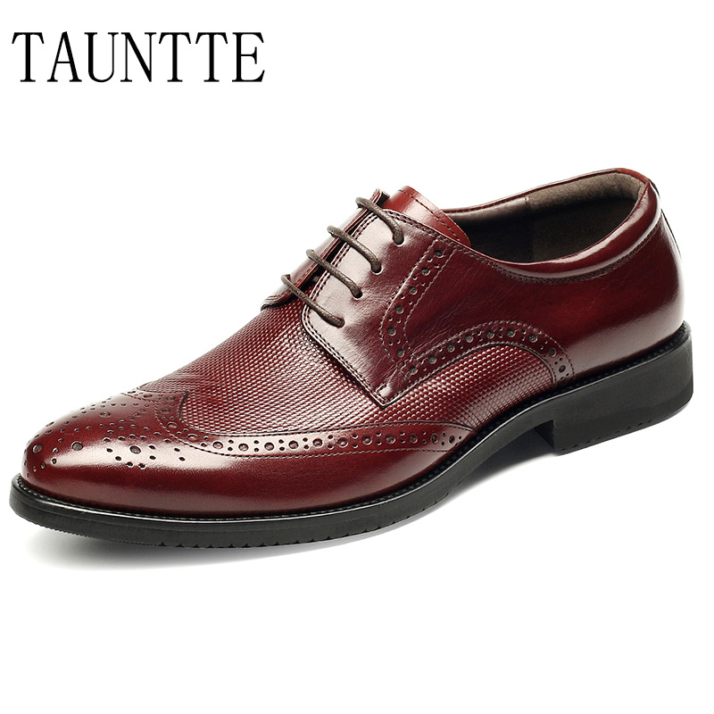 2018 New Arrives Handmade Oxfords Formal Shoes Men Luxury Genuine Leather Brogue Wedding Shoes Business Casual Shoes new branded men s casual full grain leather oxfords shoes wedding dress shoes handmade business lace up brogue shoes for men