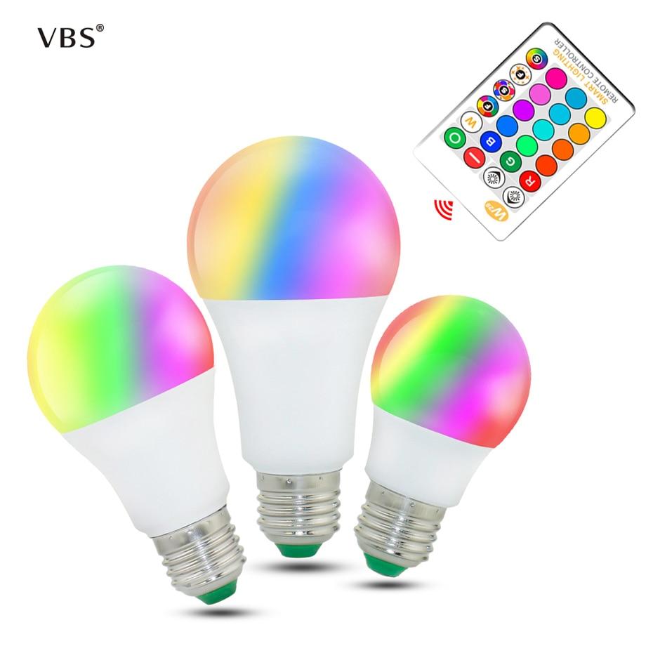 Led Lamp 5W 10W 15W Led Bulbs E27 220v High Quality RGB RGBW RGBWW Spot Light Remote Control Ampolleta Led RGB With Memory стоимость