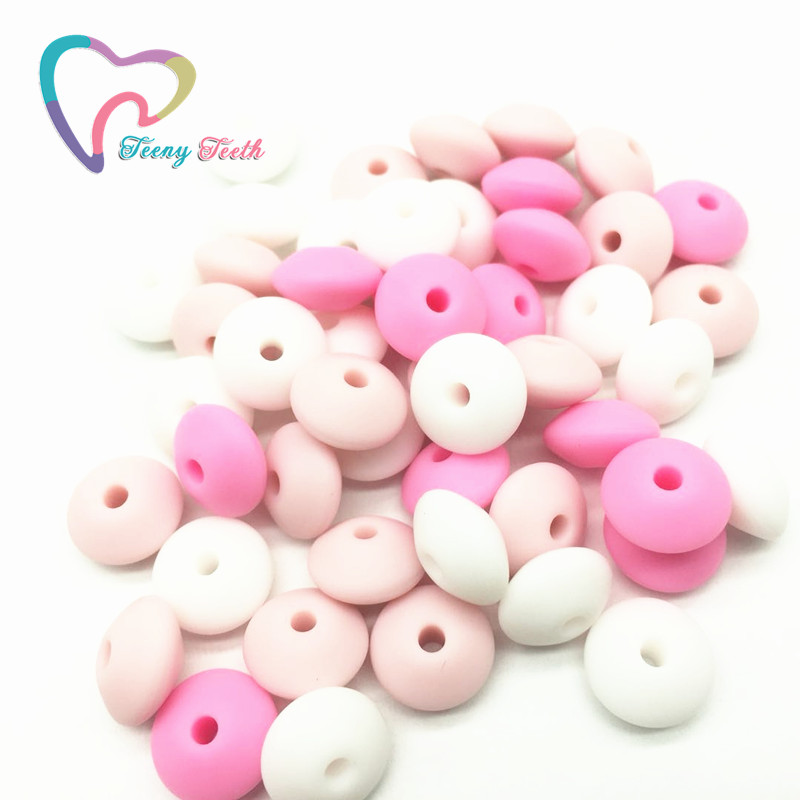 Teeny Teeth 50PCS Pastel PinkCombo Silicone Lentil Beads Safe Teether Baby Chew Non Toxic BPA Free Abacus Silicone Teething Bead