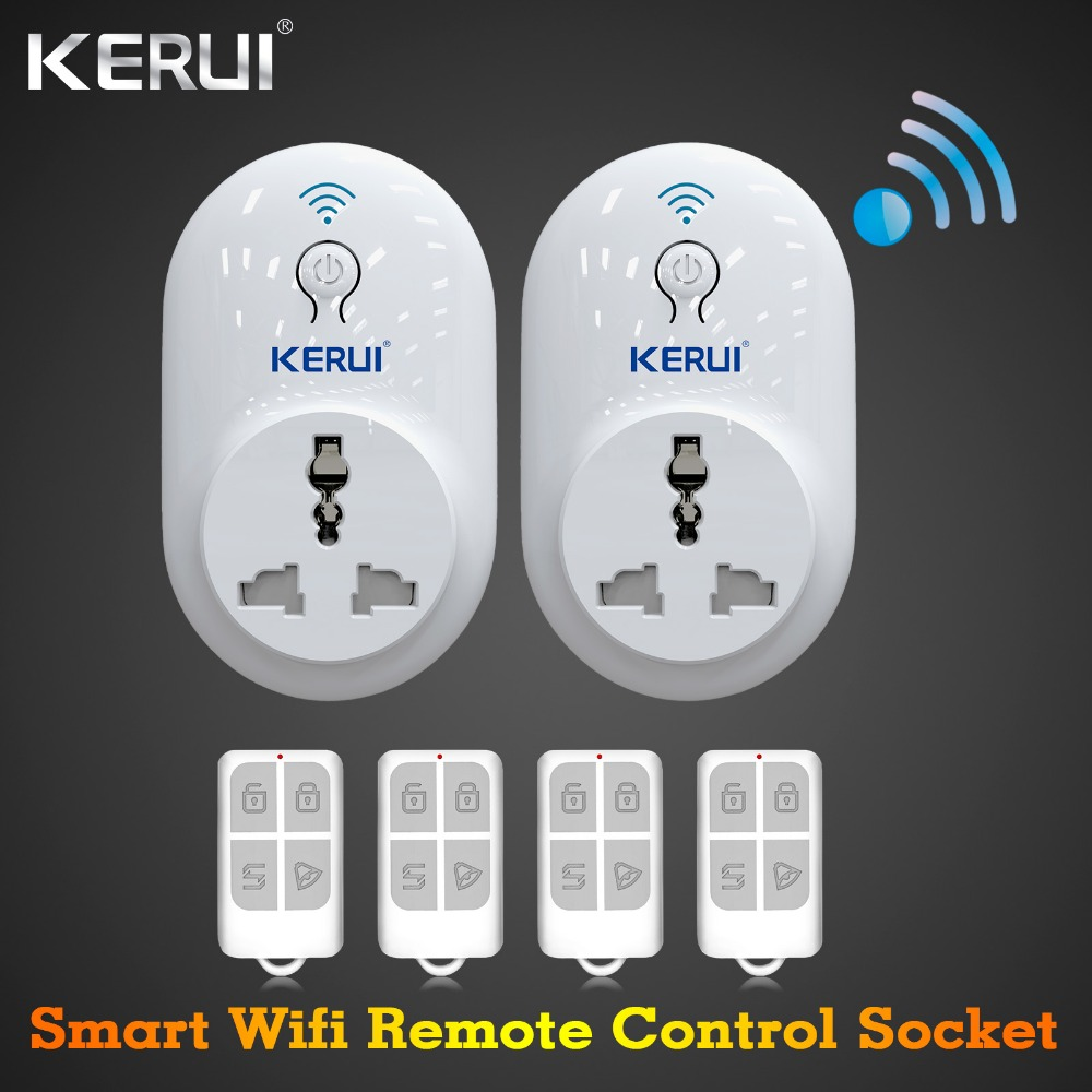 Home Wifi Alarm System Remote Control Smart Socket EU/AU/US/UK Adapter Switch Plug Outlet for G18 G19 W1 W2 Alarm System js 312 home infrared induction alarm device w 2 x remote controllers white eu plug