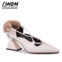 ISNOM Unusual Heel High Pumps Women Pointed Toe Footwear Cow Leather Shoes Female Cross Tied Fur Shoes Woman Spring 2019 New