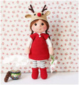 Red dress boots Christmas reindeer hat girl - Olivia  crochet  Amigurumi doll