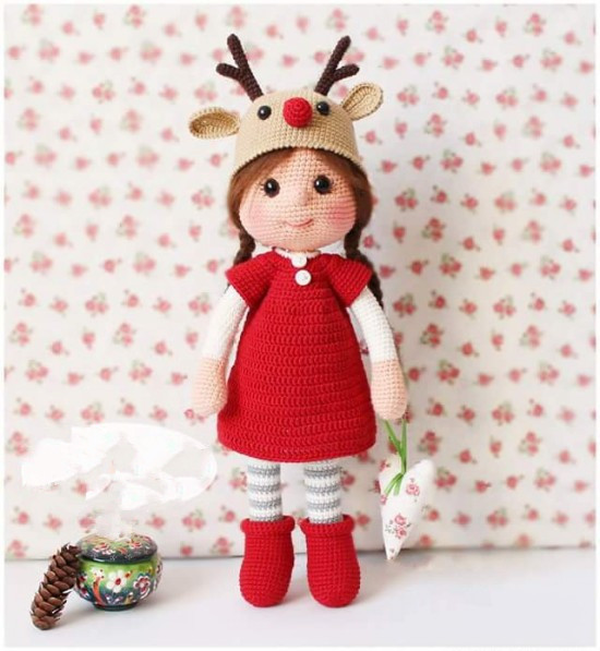 Red Dress Boots Christmas Reindeer Hat Girl - Crochet  Amigurumi Doll Rattle