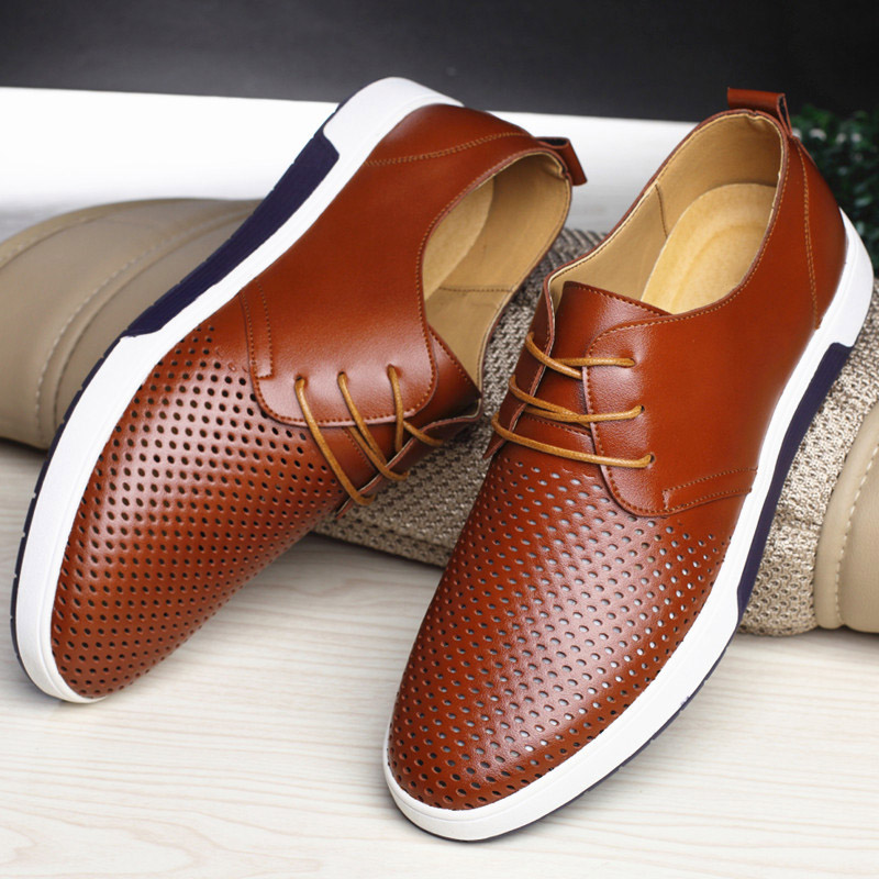 Men Casual Shoes Leather Summer Breathable Flat Shoes 4
