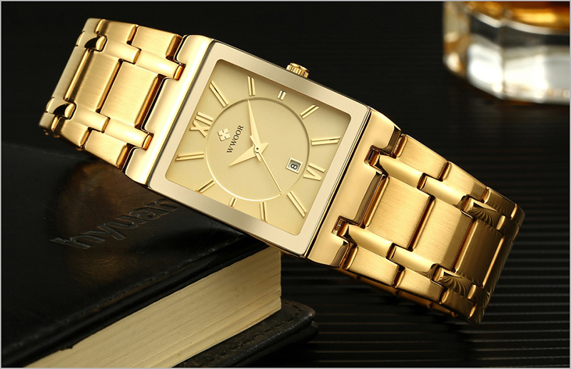 Men Watches Top Brand Luxury WWOOR Gold Black Square Quartz watch men 2019 Waterproof Golden Male Wristwatch Men watches 2019