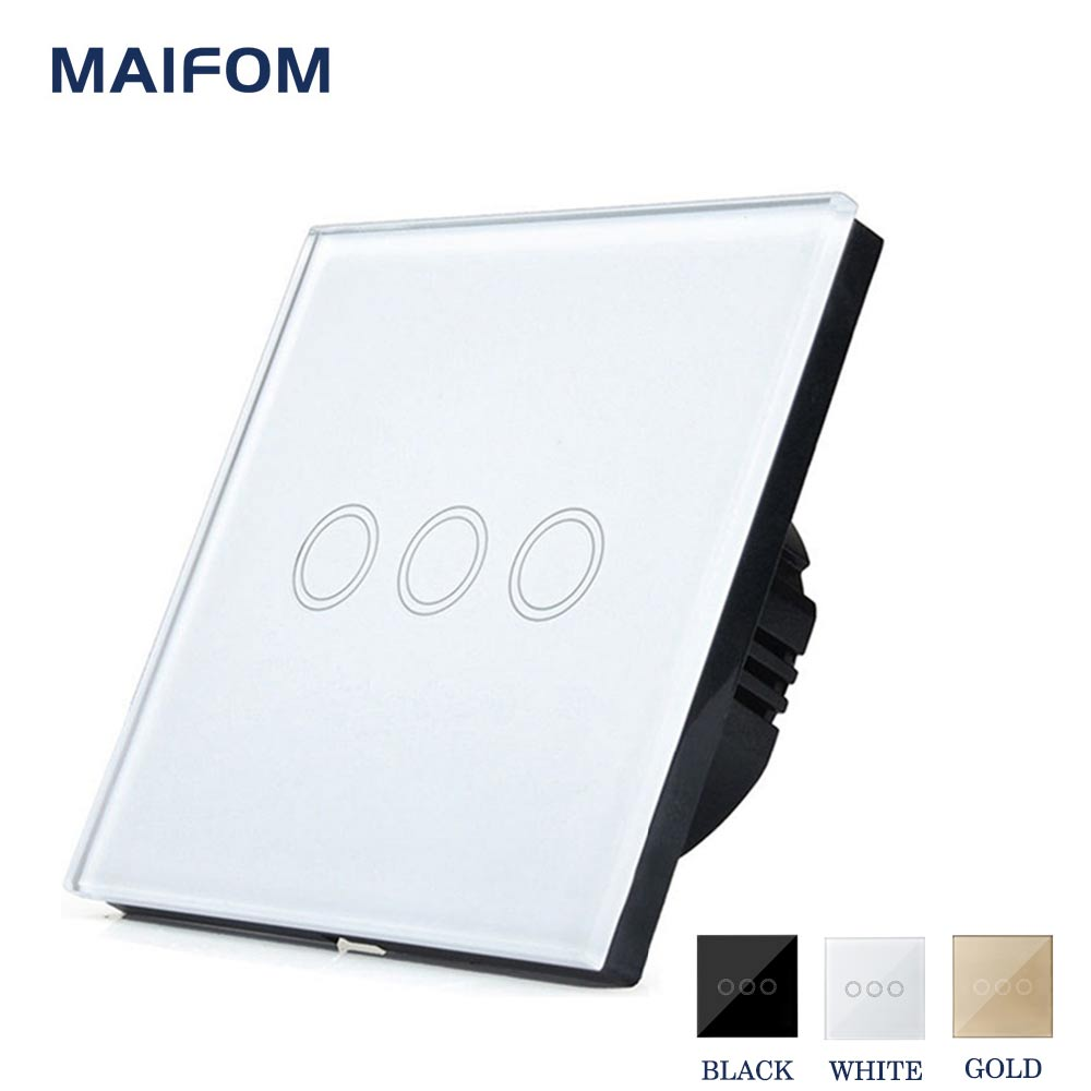 Smart Home EU/UK Wall Switch MAIFOM LED Touch Light Switch 110-240V 3 Gang 1 Way Waterproof Crystal Tempered Glass Panels smart home touch switch power switch eu standard black 3 gang 1 way crystal glass wall switch 220v light switch control led