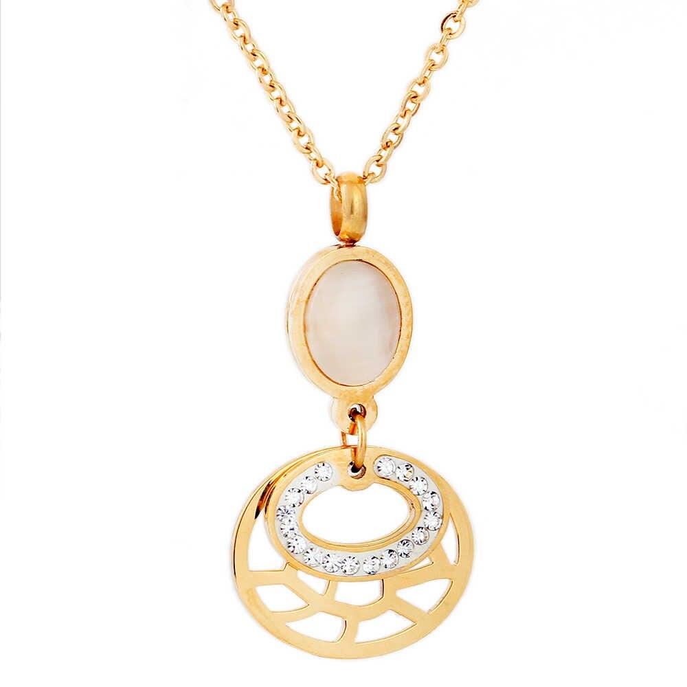 Gold Farbe edelstahl schmuck sets romantische hochzeit ohrringe halsketten für frauen kristall und Opal schmuck