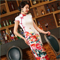 New Arrival Chinese Tradition Mandarin Collar Women's Printing Long Cheong-sam Qipao S M L XL XXL TZM201501