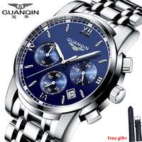 Модные часы для мужчин Роскошные Лидирующий бренд GUANQIN сталь для мужчин часы светящиеся водонепроницаемые наручные часы многофункцион